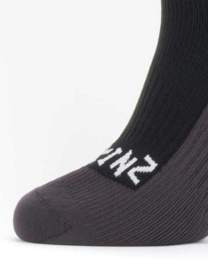 SEALSKINZ Socks - Waterproof Cold Weather Knee Length - Black & Grey
