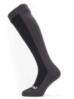 SEALSKINZ Socks - Waterproof Cold Weather Knee Length - Black & Grey