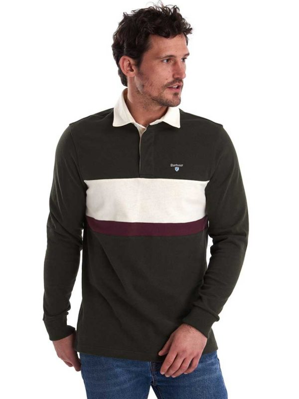 BARBOUR Shirts - Men's Weston Panel Rugby Polo - Forest