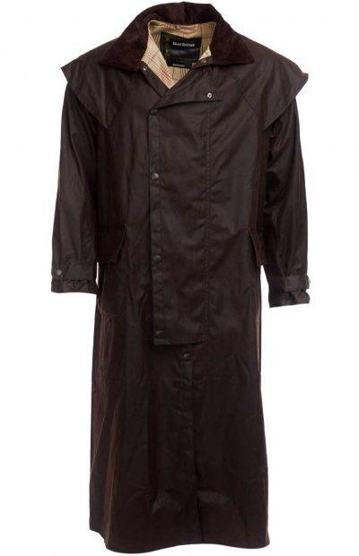 BARBOUR Wax Jacket - Mens Stockman Long Coat - Brown