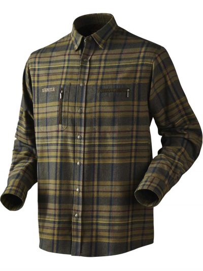HARKILA Shirts - Mens Eide Brushed Cotton - Dark Olive Check