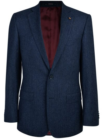 MAGEE Tweed Jacket - Mens Donegal Tweed Nice Classic Fit - Navy Herringbone
