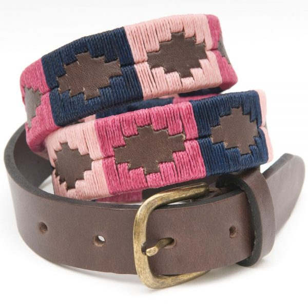 PIONEROS Polo Belt - Narrow Argentinian - 160 Berry/Navy/Pink