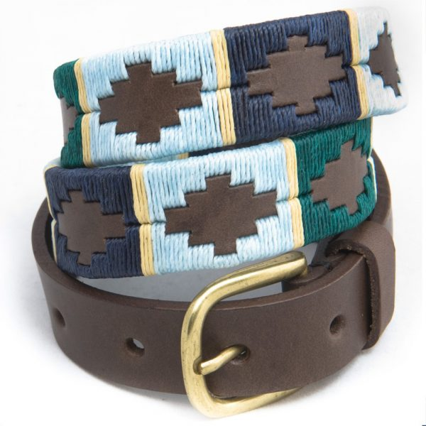 PIONEROS Polo Belt - Narrow Argentinian - 162 Green/Pale Blue/Navy with Cream Stripe