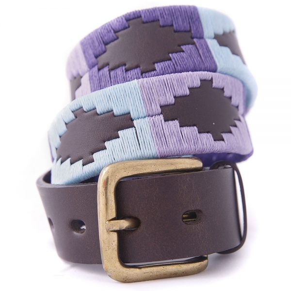 PIONEROS Polo Belt - Wide Argentinian - 120 Pale Blue/Purple/Violet