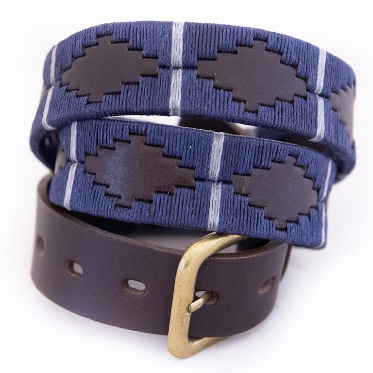 PIONEROS Polo Belt - Wide Argentinian - 121 Navy with Silver Grey Stripe