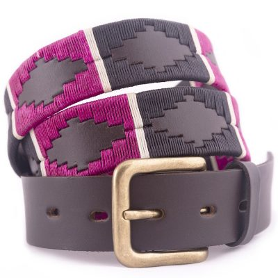 PIONEROS Polo Belt - Wide Argentinian - 122 Black/Berry with White Stripe