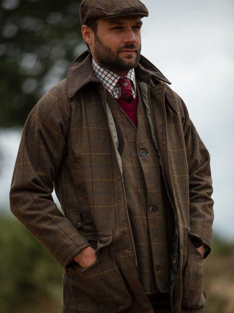 ALAN-PAINE-Shooting-Coat---Mens-Rutland-Waterproof-Tweed---Alder