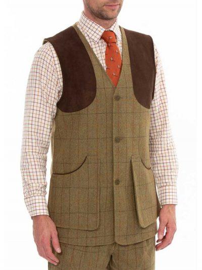 ALAN-PAINE-Shooting-Waistcoat---Mens-Combrook-Tweed---Elm