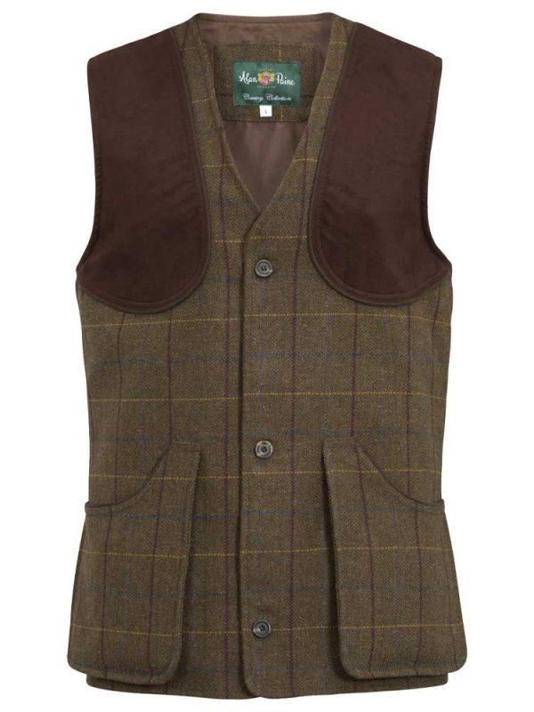 ALAN PAINE Shooting Waistcoat - Mens Rutland Tweed - Dark Moss
