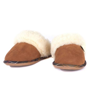 BARBOUR Slippers - Ladies Lydia Mules - Camel Suede