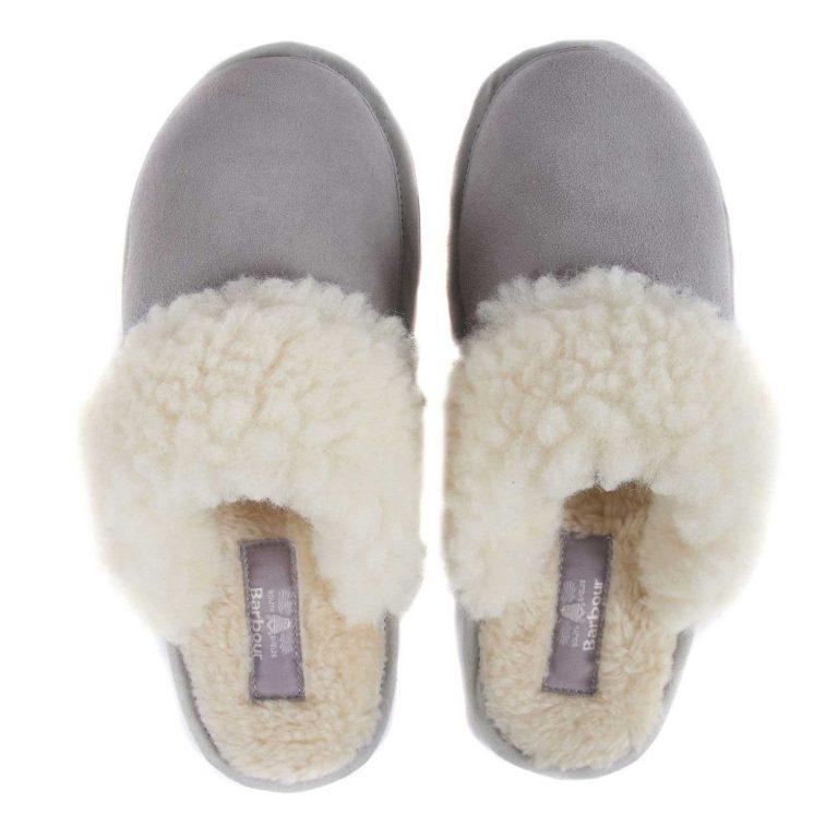 BARBOUR Slippers - Ladies Lydia Mules - Grey Suede