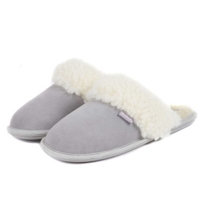 BARBOUR Slippers - Ladies Lydia Mules - Grey Suede