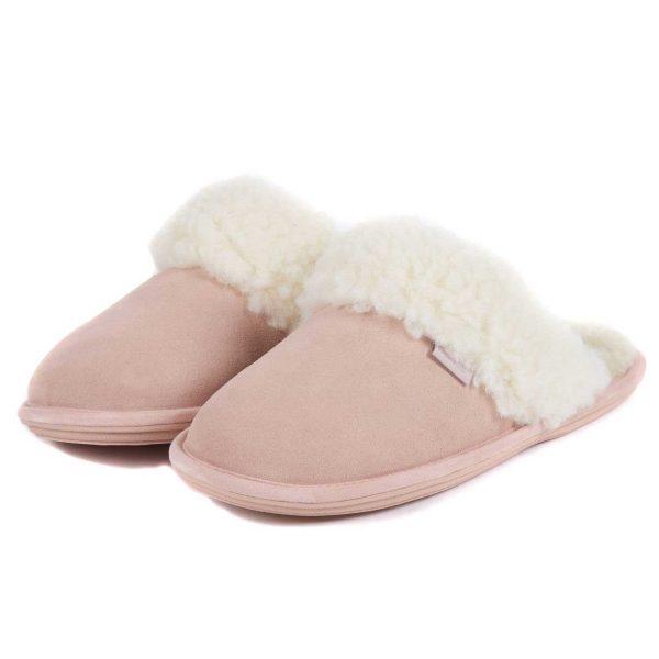 BARBOUR Slippers - Ladies Lydia Mules - Pink Suede