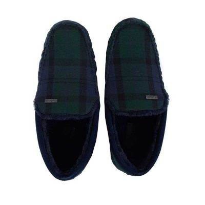 BARBOUR Slippers - Mens Monty Moccasin - Black Watch Tartan