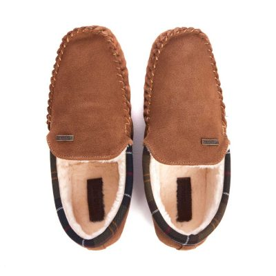 BARBOUR Slippers - Mens Monty Moccasin - Camel Suede