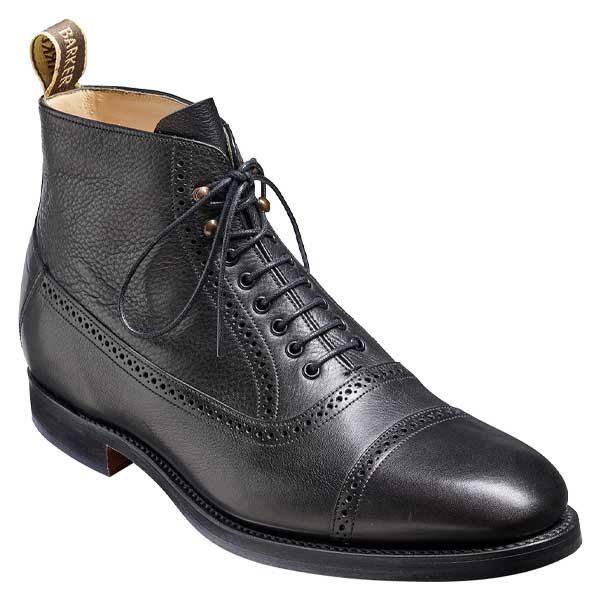 BARKER Foley Boots - Mens Toe Cap - Black Soft Grain