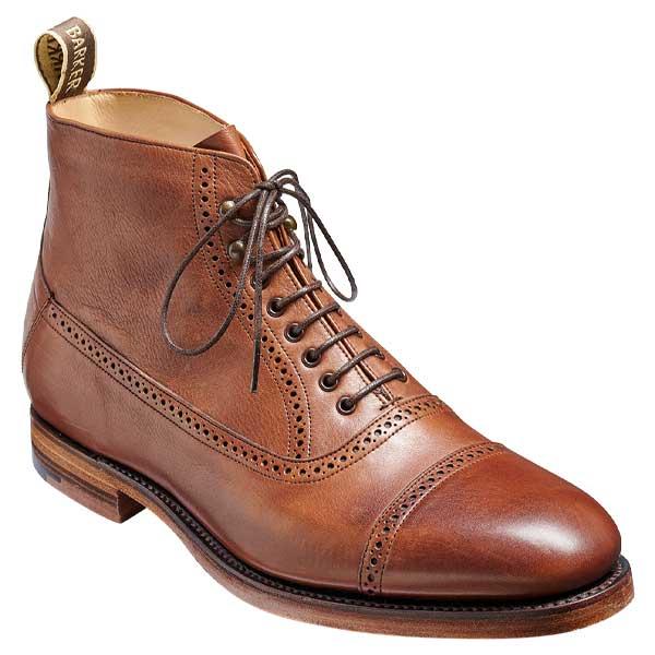 BARKER Foley Boots - Mens Toe Cap - Brown Soft Grain