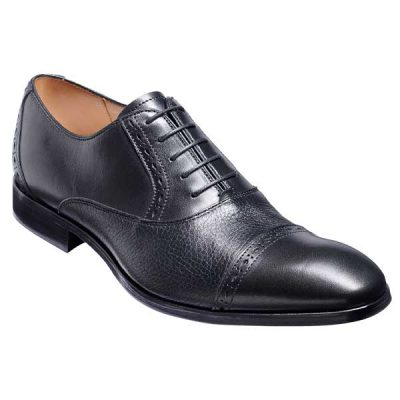 BARKER Ramsgate Shoes - Mens Oxford Toe Cap - Black Calf & Black Deerskin