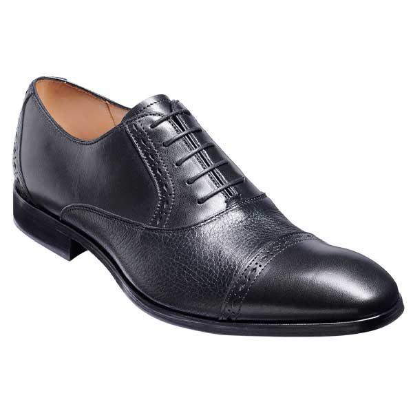BARKER Ramsgate Shoes - Mens Oxford Toe Cap - Black Calf & Black Deerskin