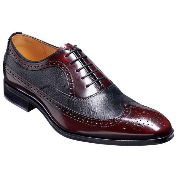 BARKER Rugby Shoes - Mens Oxford Brogues -Burgundy Hi-Shine & Black Deerskin