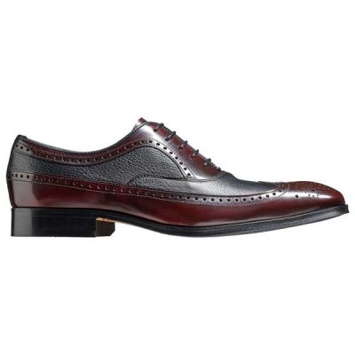 BARKER Rugby Shoes - Mens Oxford Brogues -Burgundy Hi-Shine & Black Deerskin