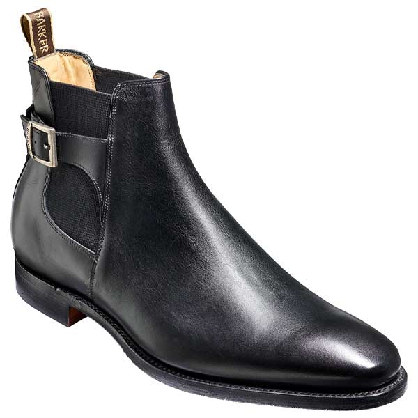 BARKER Sergey Boots - Mens Buckle Chelsea - Black Calf