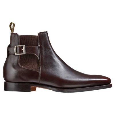 BARKER Sergey Boots - Mens Buckle Chelsea - Dark Walnut Calf