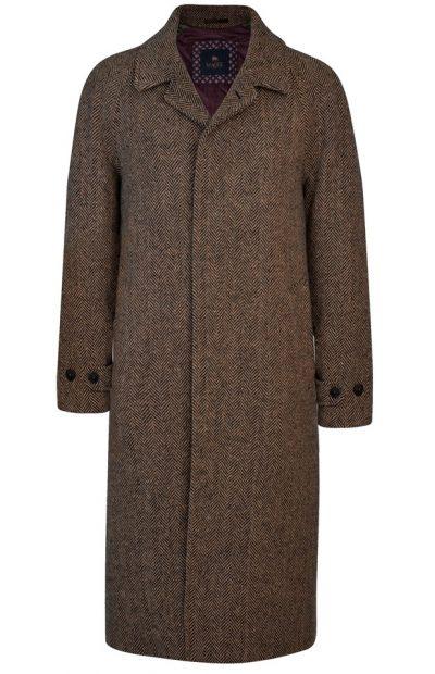 MAGEE Corrib Overcoat - Mens Handwoven Donegal Tweed - Brown