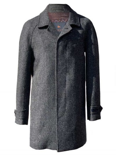 MAGEE Donegal Tweed Overcoat - Mens Erne Classic Fit - Grey Herringbone