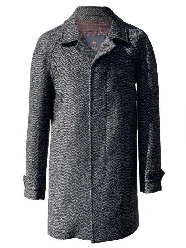 MAGEE Donegal Tweed Overcoat - Mens Erne Classic Fit - Grey Herringbone