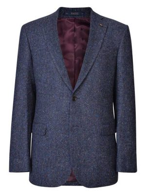 MAGEE Tweed Jacket - Mens Salt & Pepper Donegal Tweed Classic Fit - Navy