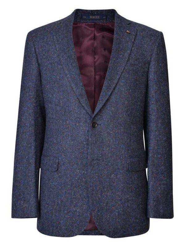 MAGEE Tweed Jacket - Mens Salt & Pepper Donegal Tweed Classic Fit - Navy