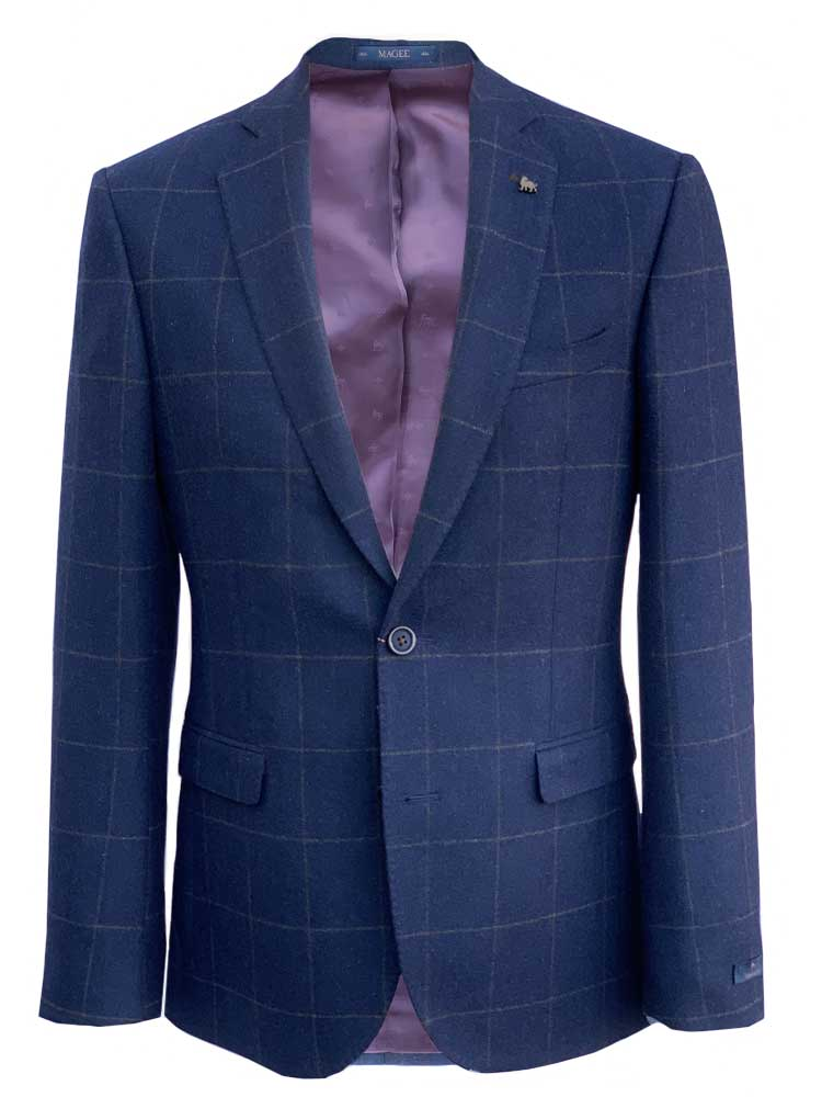MAGEE Tweed Jacket - Mens Nice Classic Fit - Navy With Brown Overcheck