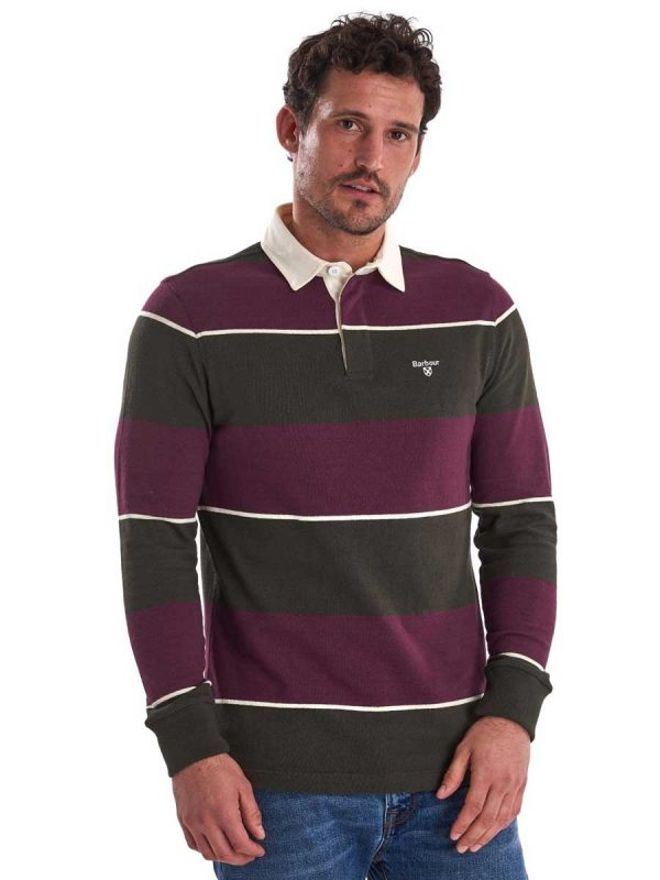 BARBOUR Shirts - Men's Lark Stripe Rugby Polo - Merlot