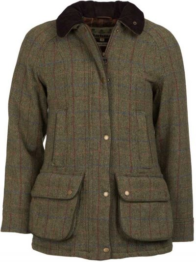 BARBOUR Wool Jacket - Ladies Carter - Olive & Aubergine